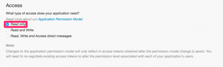 SNSログインは「Read only」で実行できます